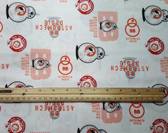 Star Wars Fabric, BB8 Fabric, Yardage or Fat Quarters, FQ, Star Wars Force Awakens, Astromech Droid The Resistance, Android, Star Wars Droid
