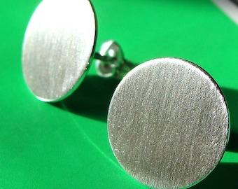 Oops Flat Disc Studs 13mm Disc Post Earrings Sterling Silver Stud Earrings Silver Disc Studs