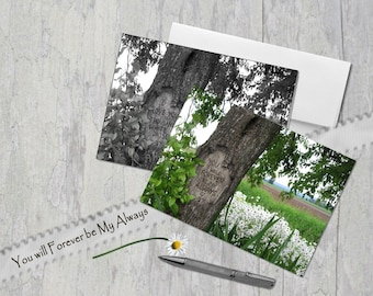 You Will Forever Be My Always, Digital tree carving, Field of Daisies, Card, Under 5 dollars, Anniversary, Black and White OR Color