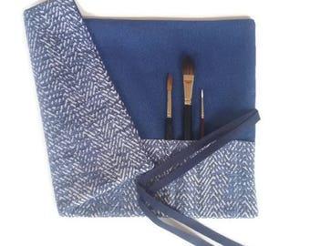 Blue Paint Brush Roll Artist Brush Roll