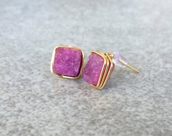 Druzy Stud Earrings // square druzy earrings, wire wrapped druzy, pink druzy earrings, dainty studs, delicate earrings, gifts under 50