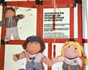 Vintage Sewing Pattern McCall's 2002  Sporting Life  Complete Uncut  Cabbage Patch Doll Clothes