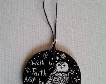 Hand Painted Hanging Wooden Ornament Snowy Owl