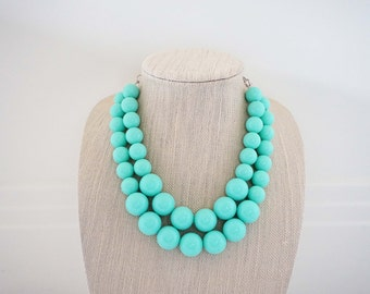 Big Mint Green Beaded Necklace