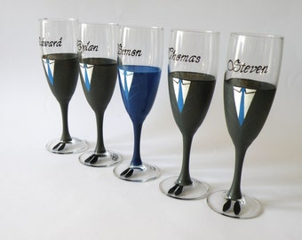 Wedding party  champagne glasses Hand painted black, navy blue
