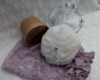 Dusting Powder, Powder Puff and Lilac Lace Bag. 100g of Your Choice Silky Body Dusting Powder.  Vegan. No Talc or Cornflour. Gift for Her.
