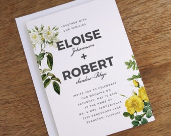 Printable Wedding Invitations - Vintage Botanicals - Yellow and White Vintage Flower Printable Invite Template - Vintage Floral Invite