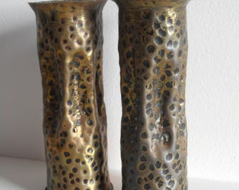 pair of hand hammered solid brass artillery shell vases stamped 1942