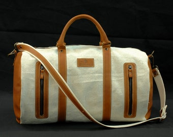 Duffle bag Travel Duffel fabric olona and leather canvas