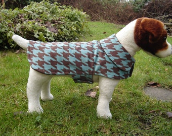 Brown and Turquoise Houndstooth Corduroy Coat- Size Small- 12 to 14  Inch Back Length - Or Custom Size