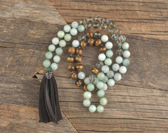 Amazonite, Lemon Quartz & Tigers Eye Hand Knotted Necklace