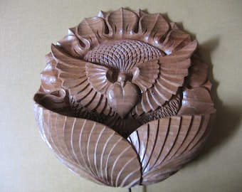 Night lamp Sunflower with a Dove, To be ordered, Wood carving, Wall hanging, room decor, lighting, floral and bird motiff, Dove, Sunflower