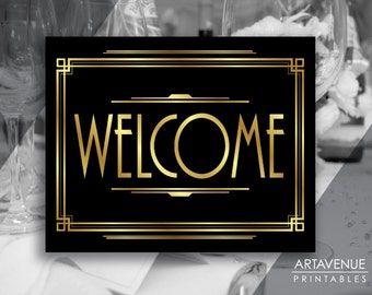 Art Deco Welcome Sign Printable, Gatsby Decor Sign, Roaring Twenties Party, Gatsby Party Supplies - Black and Gold - ADBG1