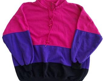 COLORBLOCK 80s / 90s Vintage Pink Purple Black Striped Sweater Women's Size Large
