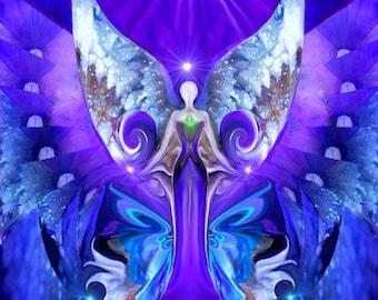 "Purple Chakra Art, Moon Third Eye Intuition, Meditation Decor ""Third Eye Open"""
