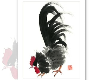 Watercolor Chinese Brush Painting Cards -  Rooster