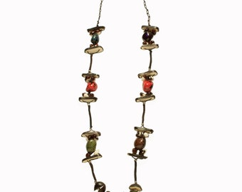 Frijol Necklace in Vegetable Ivory Seeds (Tagua or Corozo) and Cranberry Beans