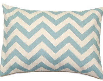 BLUE PILLOW COVER.12x16 or 12x18 inch Decorative Lumbar Pillow Cover.Housewares.Home Decor.Blue Chevron.Spa.Robins Egg.ZigZag,Zig Zag.cm