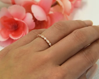 Art Deco Full Eternity Ring, Marquise Wedding Band, Delicate Engagement Ring, Man Made Diamond Simulant, Sterling Silver, Rose Gold Plated