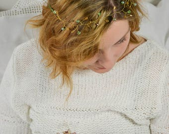 Bridal Hairvine  Bridal Headpiece Fairytale Gold Green Brown Glasbeads