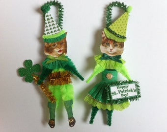 CAT St. Patrick's Day ORNAMENT kitty cat ornament vintage style chenille ORNAMENTS set of 2