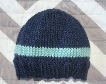 Hand Knit Baby Hat in Blue / Striped Hat / Baby Hat / Baby Beanie / Toddler Hat / Toddler Beanie