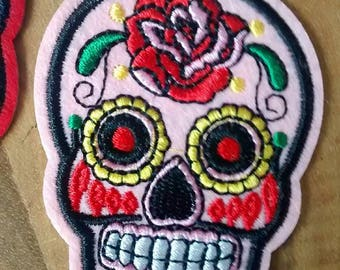 Pink skull Patch embroidery
