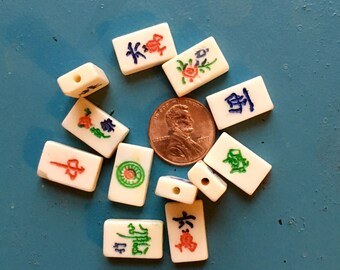 """Mahjong Maj Mah Jong Bone Tile Beads Smallest Mini Bone Retro 12 pcs Boho Vintage Asian Bone Beads Yoga Jewelry Fun 5/8""""x 3/8"""" 16mm x 9.5mm"""