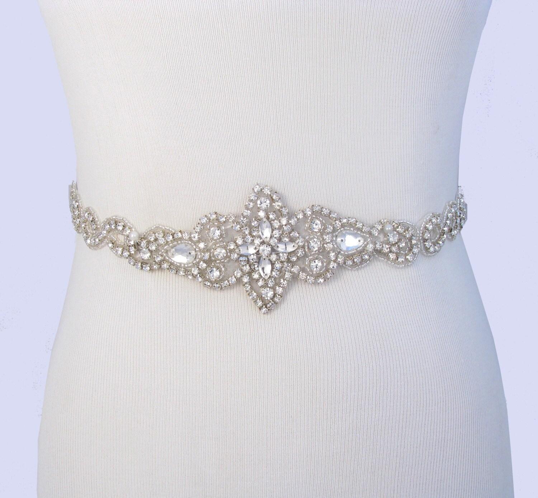 Wedding Gown Belts And Sashes: Bridal Belt Crystal Rhinestone Wedding Dress Sash Jeweled