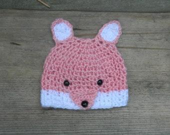 Crochet Fox Hat. Fox hat. Baby Girl Fox Hat. Crochet Fox. Pink Fox. Knit Fox Hat. Pink Knit Fox Hat. Crochet Fox Gift. Fox Costume.