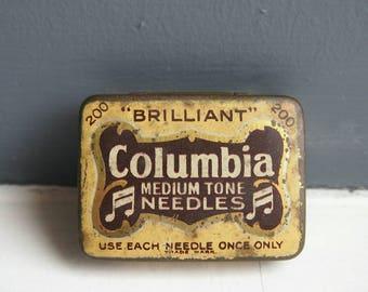 Columbia Gramophone Needle Tin, Medium Tone, 1920's Decorative Vintage Tin, Collectibles, Advertising & Display Tin, Collectors Item, Gift