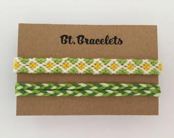 Set Two friendship straps bracelets green/Yellow 2.50
