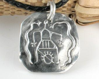 African Shaman Fine Silver Pendant - Shaman Fertility Ritual Serpents Pendant - Fine Silver African Shaman Good Life Path Symbolic Pendant