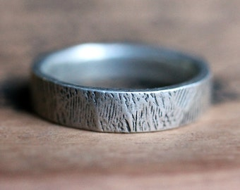 Mens silver wedding band, woodgrain ring, mens rustic wedding band, tree bark ring, recycled silver ring, mens wedding ring, custom made