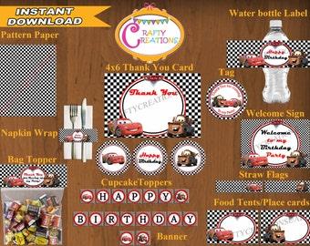INSTANT DOWNLOAD - Disney Cars Birthday Printable Package - Cars Birthday Party Package - McQueen - Decoration - DIGITAL -CraftyCreationsUAE