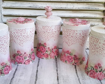 Canisters, tin, Canisters set, Shabby chic canisters, Coffee canister, sugar and flour canister, Kitchen canister set, Tin box