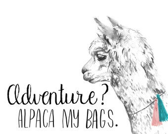 Alpaca watercolor print, Animal pun art, alpaca pun, animal puns, Alpaca art print, Alpaca watercolor painting, Alpaca art, Alpaca print