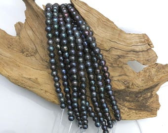Grey Pearls - LARGE HOLE Beads - 8mm - 8 Inch Strand - 2.5mm Hole