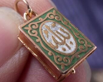 vintage antique deco victorian nouveau 18K gold enamel locket medal pendant secret box book case arabig