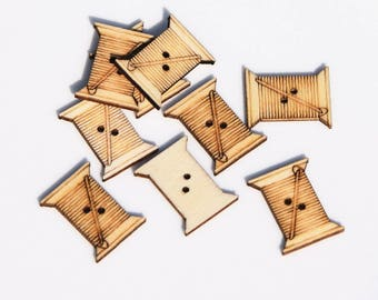 set of 10 wooden spool of thread buttons