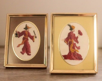 Two Japanese Style Petit Point Pictures