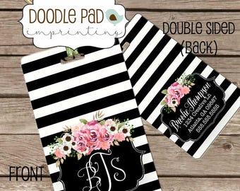 Women's Luggage Tag, Black Stripe Floral Bag Tag