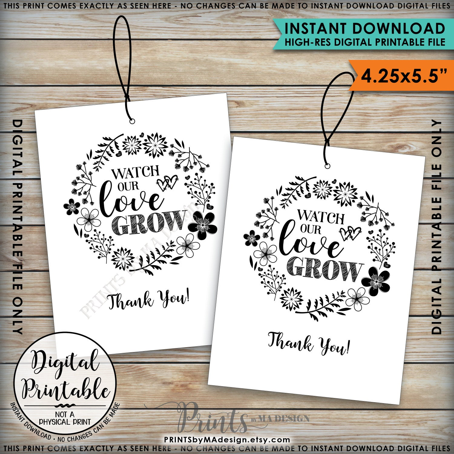 Watch Our Love Grow Tags, Wedding Tags, Succulents Plant Seeds ...