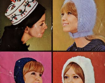 Original Vintage Patons Knitting Pattern Ladies Hats