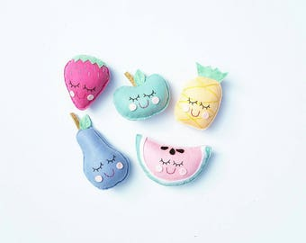 Five piece felt food play set popsicle and icecream,  fruit or donuts