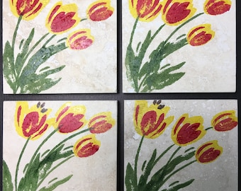 Set of 4 natural stone coasters, tulips design