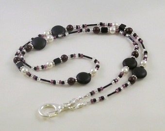 Beaded Lanyard Necklace Black Maroon White ID Badge Holder