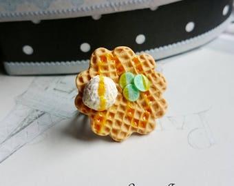 Waffle ring ring polymer clay lemon
