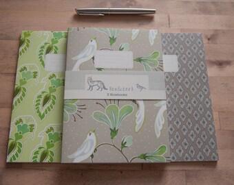 Maharani's Garden - Set of 3 Notebooks - mink & lime