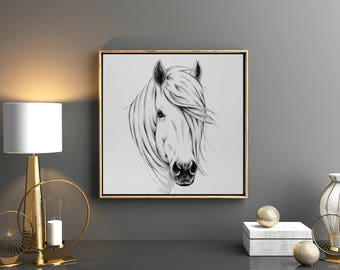 "ORIGINAL Charcoal Drawing, 16""x16 White Horse Sketch, Wild Horse Art, Charcoal Horse Decor, Horse Mane, Farm Decor Farmhouse Art, Equine Art"